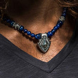 William Henry SHIELD BLUE SODALITE Bead Necklace with Sterling Silver Pendant