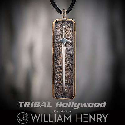 William Henry DEFENDER SILVER AND BRONZE Medieval Sword Pendant Necklace for Men