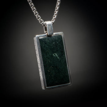 William Henry PINNACLE BLACK JADE Dog Tag Pendant Chain for Men