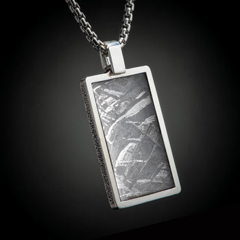 William Henry PINNACLE METEORITE Dog Tag Pendant Chain for Men