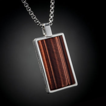 William Henry PINNACLE TIGERS EYE Dog Tag Pendant Chain for Men