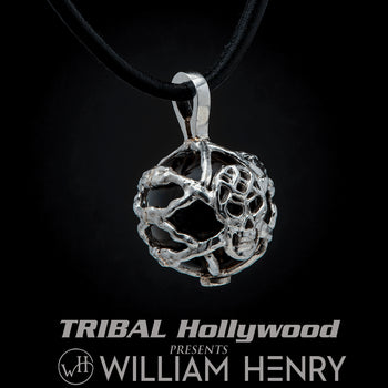 William Henry PURPOSE Silver Skull Pendant Chain with Smoky Quartz