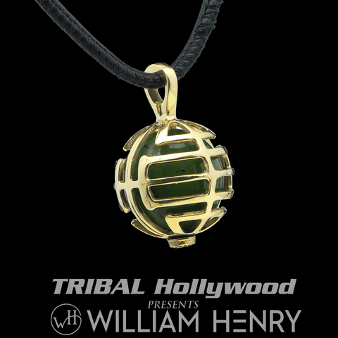 William Henry THE DREAMER NECKLACE 18k Gold and Green Jade Mens Amulet
