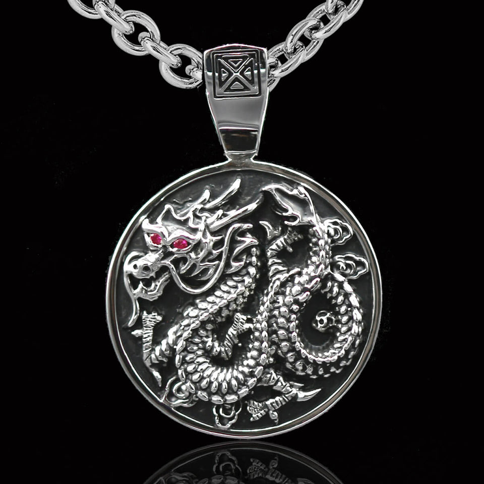 Ecks CHINESE DRAGON MEDALLION Sterling Silver Pendant Chain for Men