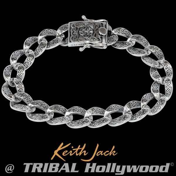 ad13dca9eca0e CELTIC CURB LINK BRACELET Sterling Silver Keith Jack Bracelet for Men