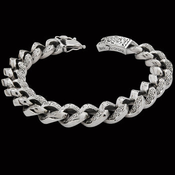 CELTIC CURB BRACELET Sterling Silver Mens Link Bracelet by Keith Jack