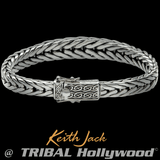 TAPERED DRAGON WEAVE Celtic Knots Silver Mens Bracelet by Keith Jack