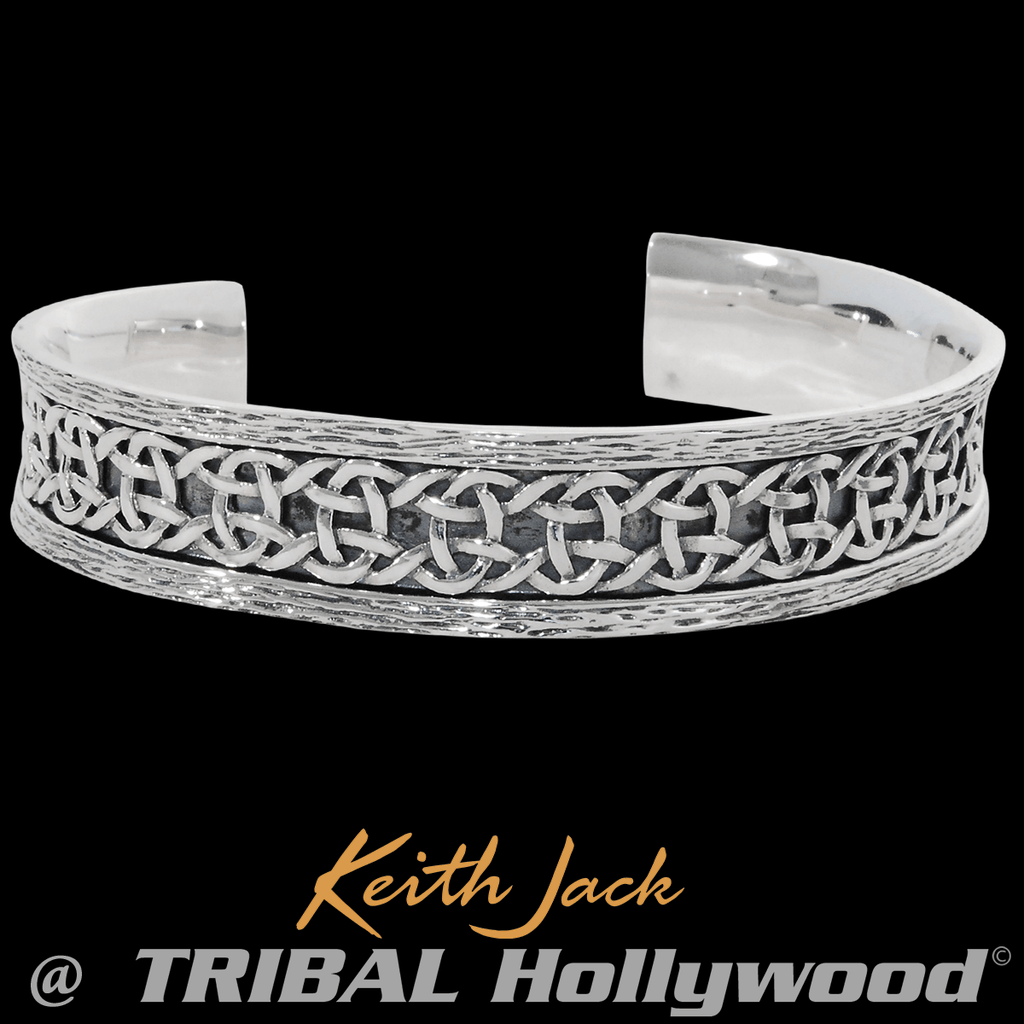 e8f32985d884c CELTIC KNOT CUFF Mens Bracelet in Sterling Silver by Keith Jack