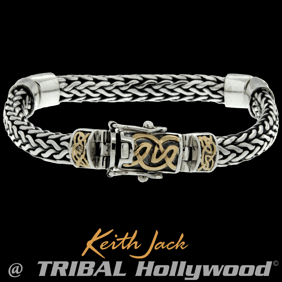 GOLD CELTIC KNOTS Dragon Weave Silver Mens Bracelet by Keith Jack