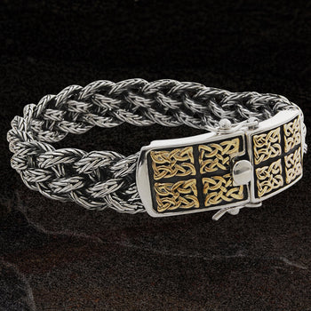 GOLD CELTIC KNOT PANELS Woven Silver Mens Bracelet by Keith Jack