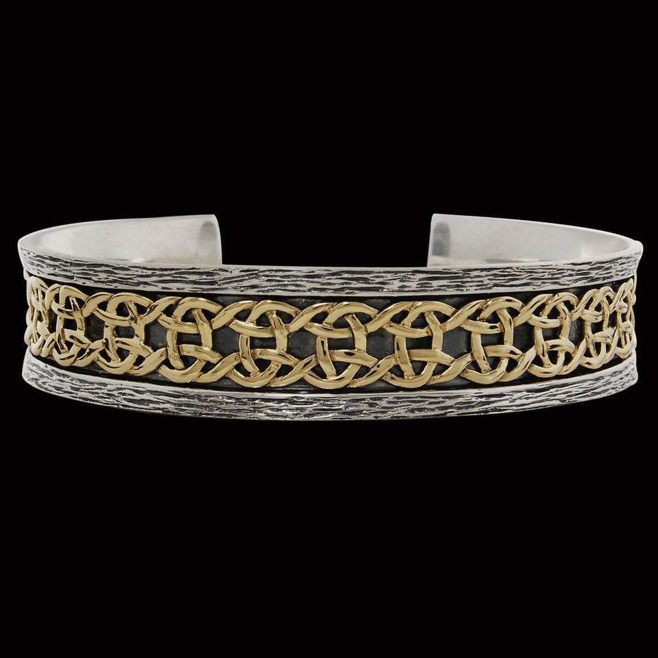 GOLD CELTIC KNOT CUFF Silver Bracelet for Men by Keith Jack