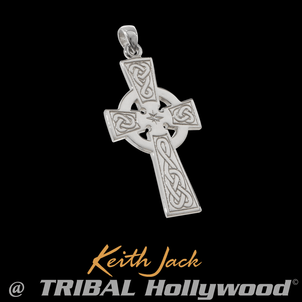 CELTIC STAR CROSS Sterling Silver Mens Chain Pendant by Keith Jack