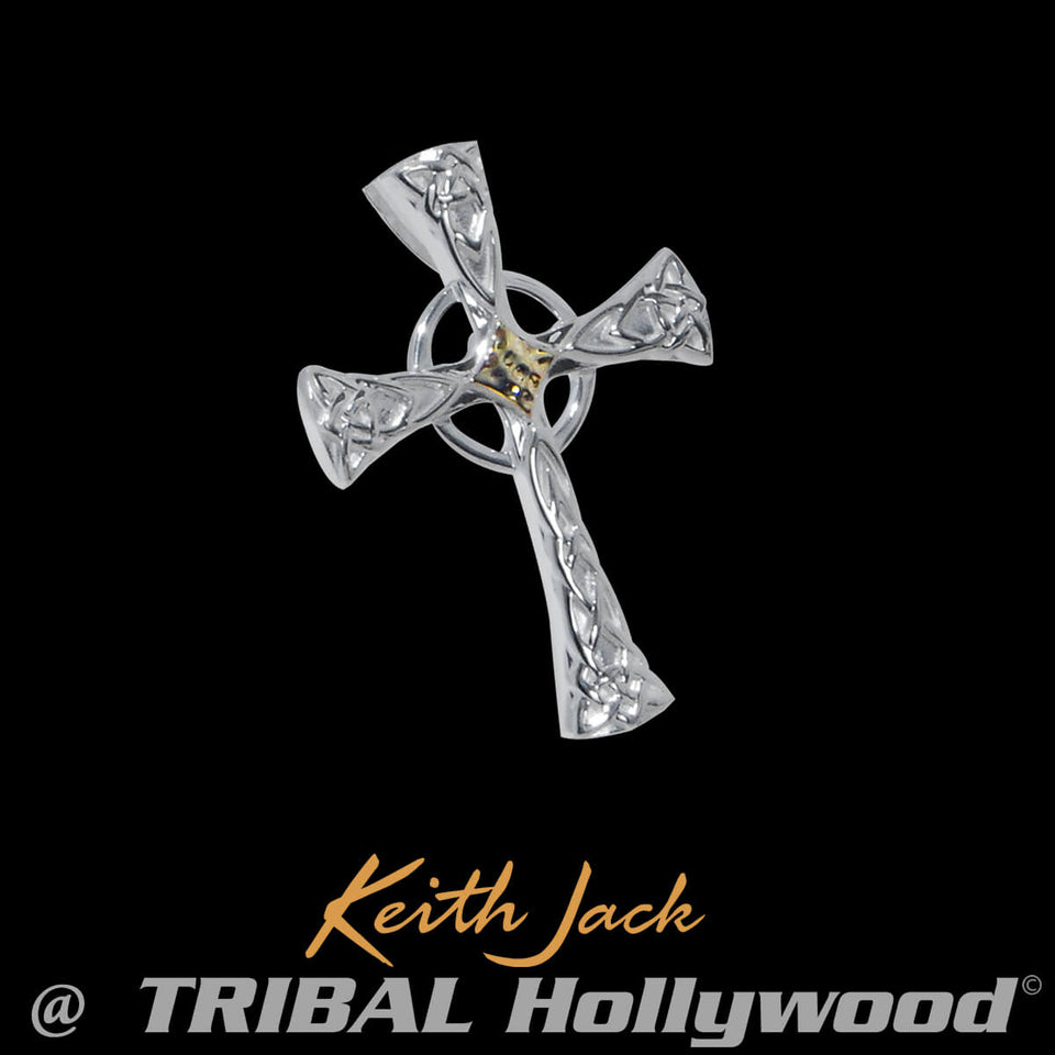 Irish CELTIC KNOT CROSS Sterling Silver Mens Pendant by Keith Jack