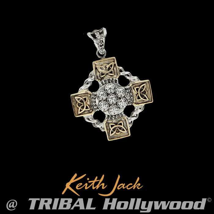 GOLD CELTIC WHEEL White Topaz Studded Mens Chain Pendant by Keith Jack