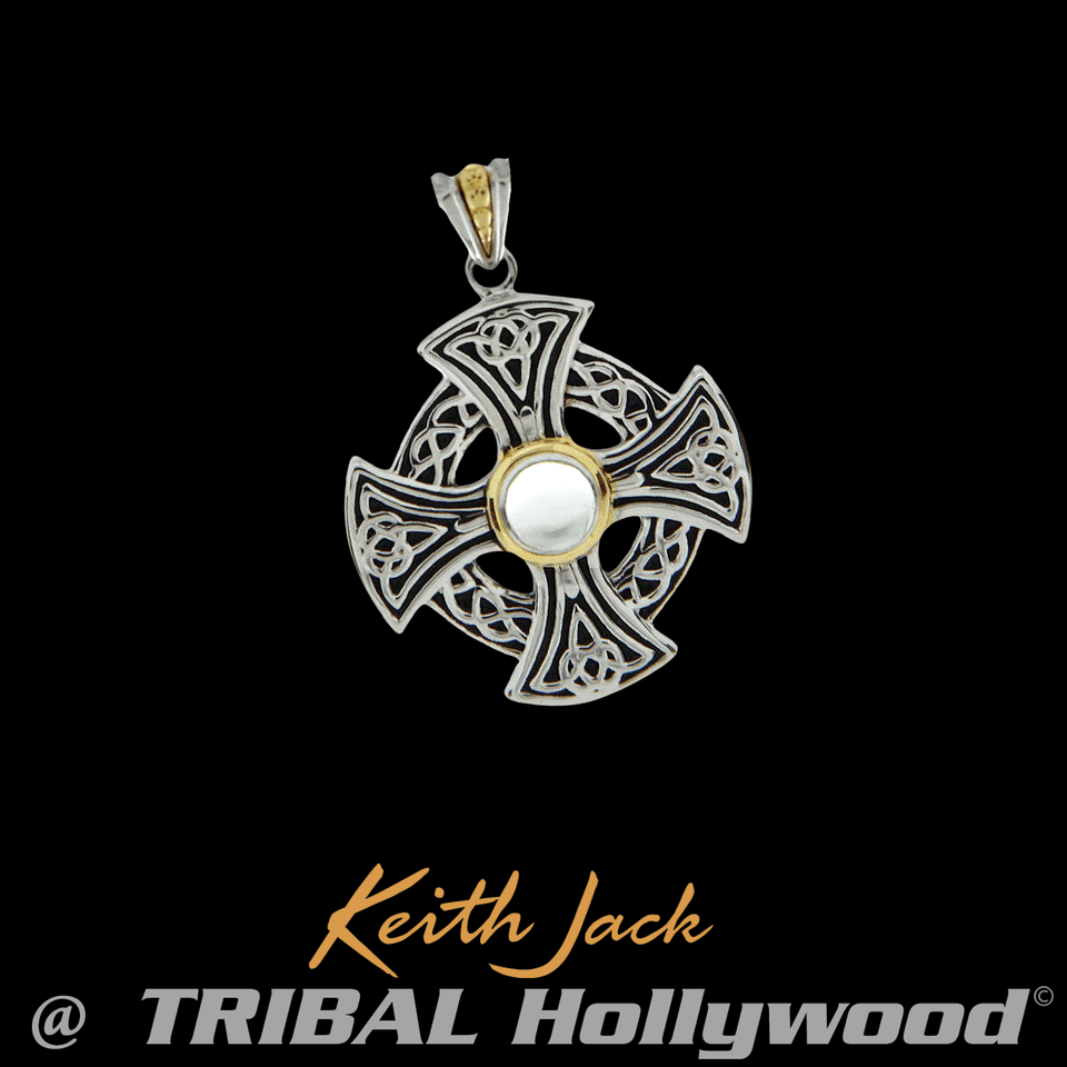 WHITE TOPAZ CELTIC WHEEL Silver Mens Chain Pendant by Keith Jack