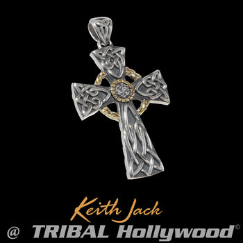 EQUINOX CELTIC CROSS Silver and Gold Chain Pendant by Keith Jack