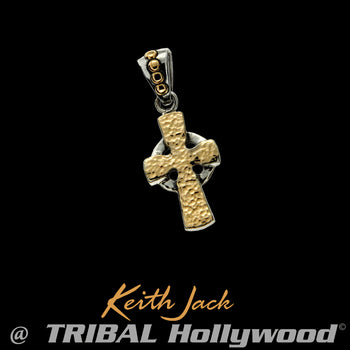 HAMMERED GOLD CELTIC CROSS Extra Small Chain Pendant by Keith Jack
