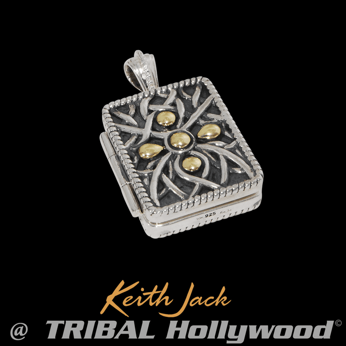 CELTIC LOCKET Hidden Compartment Silver Chain Pendant by Keith Jack