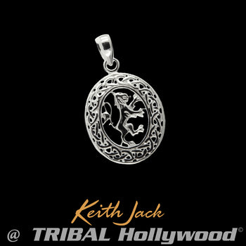 LION RAMPANT MEDALLION Celtic Knot Mens Chain Pendant by Keith Jack