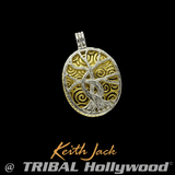 TREE OF LIFE Four-Way Reversible Gold & Silver Pendant by Keith Jack