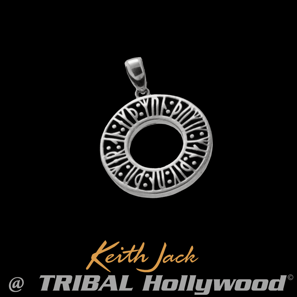 NORSE RUNES MEDALLION Sterling Silver Chain Pendant by Keith Jack