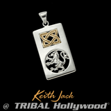 RAMPANT LION Silver and Gold Chain Pendant for Men by Keith Jack