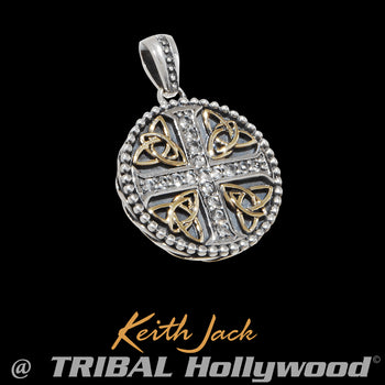 TRINITY CROSS MEDALLION Silver and Gold Chain Pendant by Keith Jack