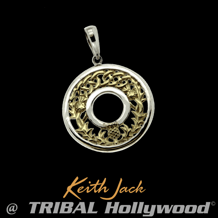New mens necklaces tribal hollywood new gold thistle medallion celtic mens chain pendant by keith jack aloadofball Gallery