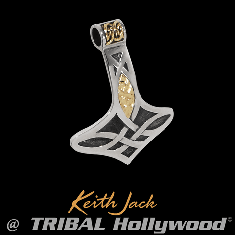 MJÖLNIR Thor's Hammer Silver and Gold Celtic Chain Pendant by Keith Jack