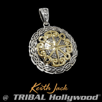 CELTIC COMPASS Silver and Gold Chain Pendant for Men by Keith Jack