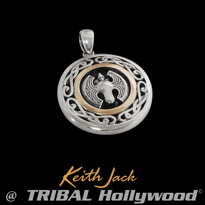 SPIDER AXE MEDALLION Chain Pendant in Silver and Gold by Keith Jack