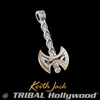 WARRIOR AXE Chain Pendant in Sterling Silver and Gold by Keith Jack