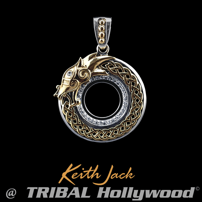 Mens sterling silver necklaces tribal hollywood eternal dragon gold and silver chain pendant for men by keith jack mozeypictures Images