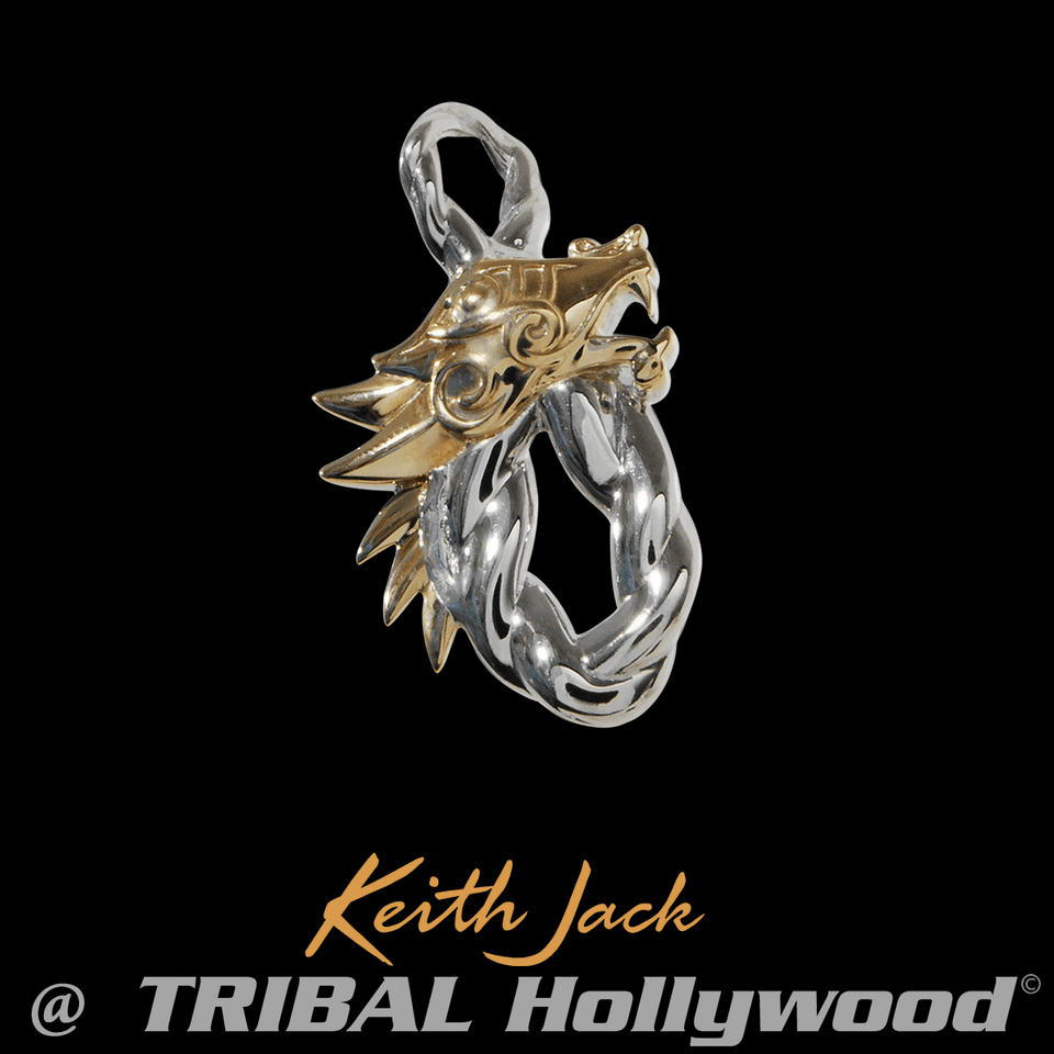 DRAGON INFINITY KNOT Gold and Silver Chain Pendant by Keith Jack
