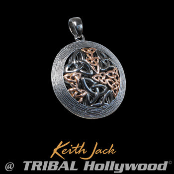 CELTIC TRINITY Black Ruthenium Rose Gold Keith Jack Mens Chain Pendant