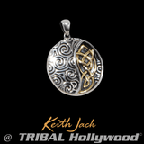 SPIRAL CELTIC KNOT MEDALLION Silver & Gold Chain Pendant by Keith Jack