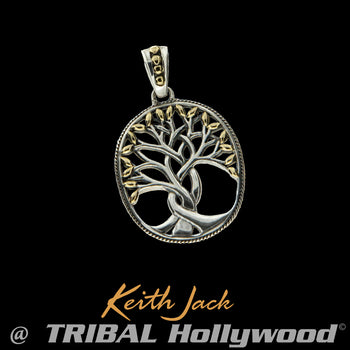 GOLD LEAF TREE OF LIFE Celtic Medallion Pendant for Men by Keith Jack