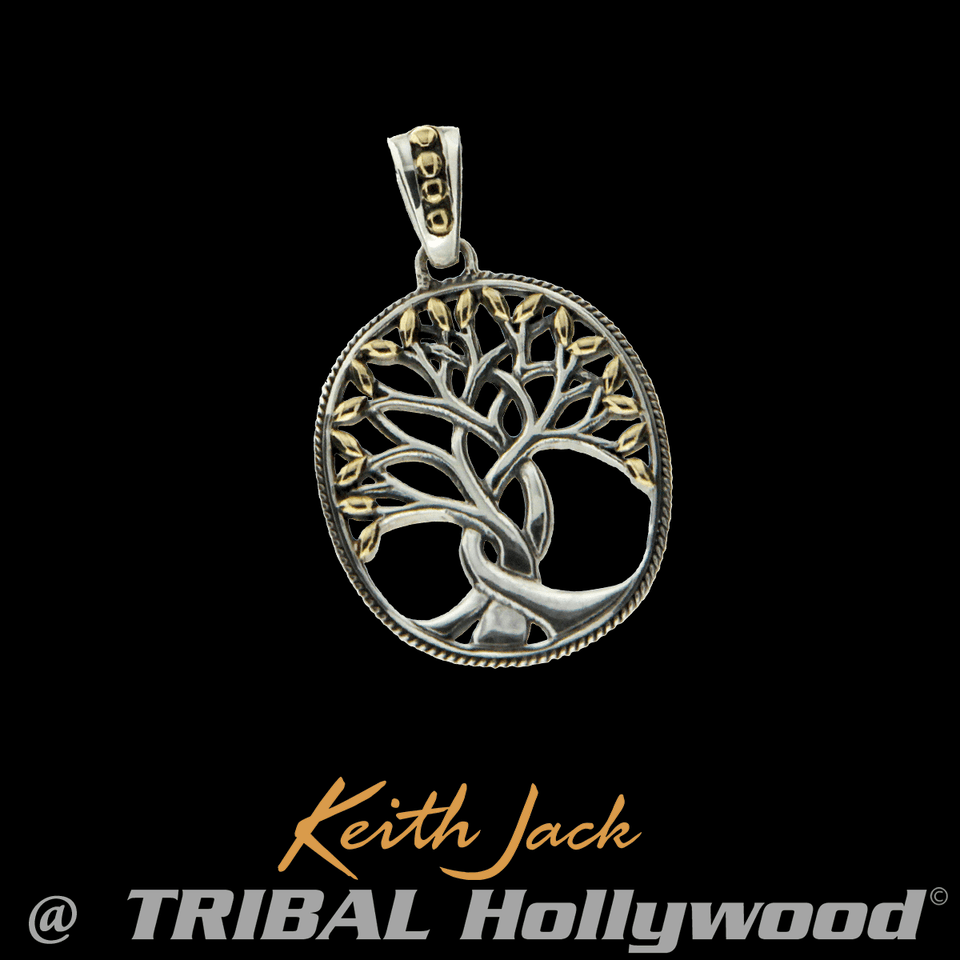 Gold Leaf Tree Of Life Mens Celtic Medallion Pendant By