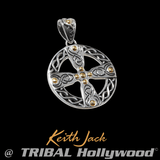 CELTIC WHEEL CROSS Silver and Gold Mens Chain Pendant by Keith Jack