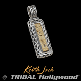 Keith Jack GOLD BAR Celtic Knot 18k Gold & Silver Mens Chain Pendant