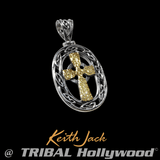 HAMMERED CELTIC CROSS Silver and Gold Mens Chain Pendant by Keith Jack
