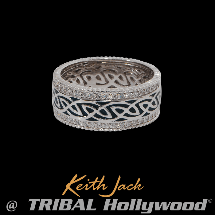 GREEN WINDOW TO THE SOUL Celtic Knot Ring for Men by Keith Jack