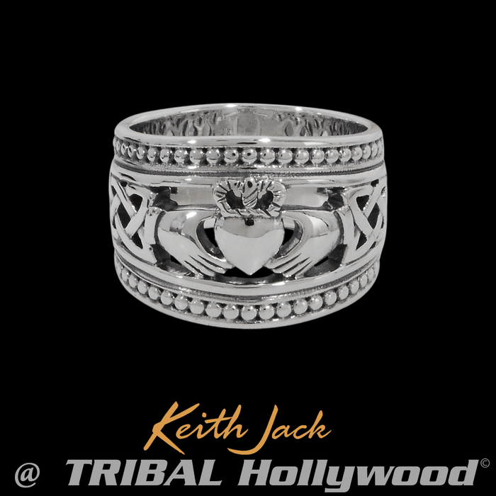 CLADDAGH RING Keith Jack Sterling Silver Irish Mens Ring Band