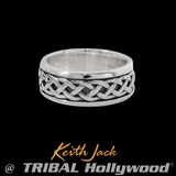 SILVER ETERNAL DRAGON Celtic Knot Mens Ring Band by Keith Jack