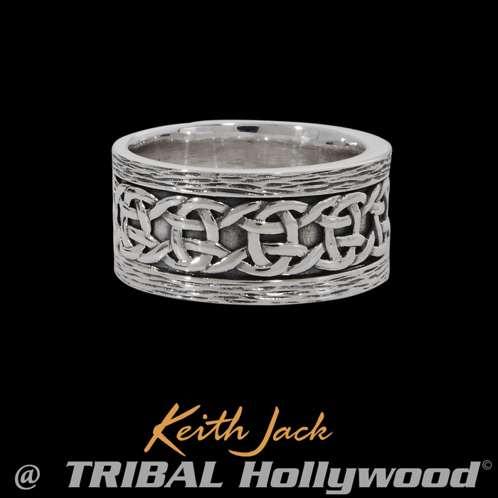 CELTIC KNOT BAND Thick Width Sterling Silver Mens Ring by Keith Jack