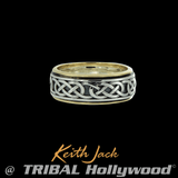 MOIDART CELTIC ETERNITY RING Silver and 10k Gold Keith Jack Mens Ring