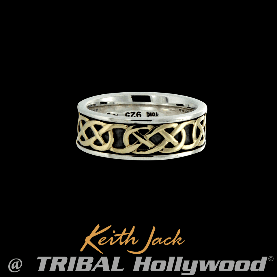 BELSTON GOLD CELTIC KNOT RING for Men with 10k Gold by Keith Jack