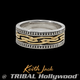 TRIBAL CELTIC KNOT Mens Ring in Sterling Silver and Gold by Keith Jack