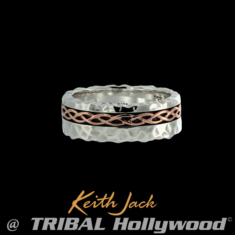 HAMMERED CELTIC RING Silver and 10k Gold Keith Jack Eternity Mens Ring