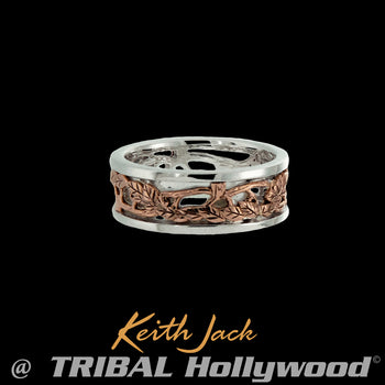 TREE OF LIFE BAND Ring for Men in Rose Gold and Silver by Keith Jack
